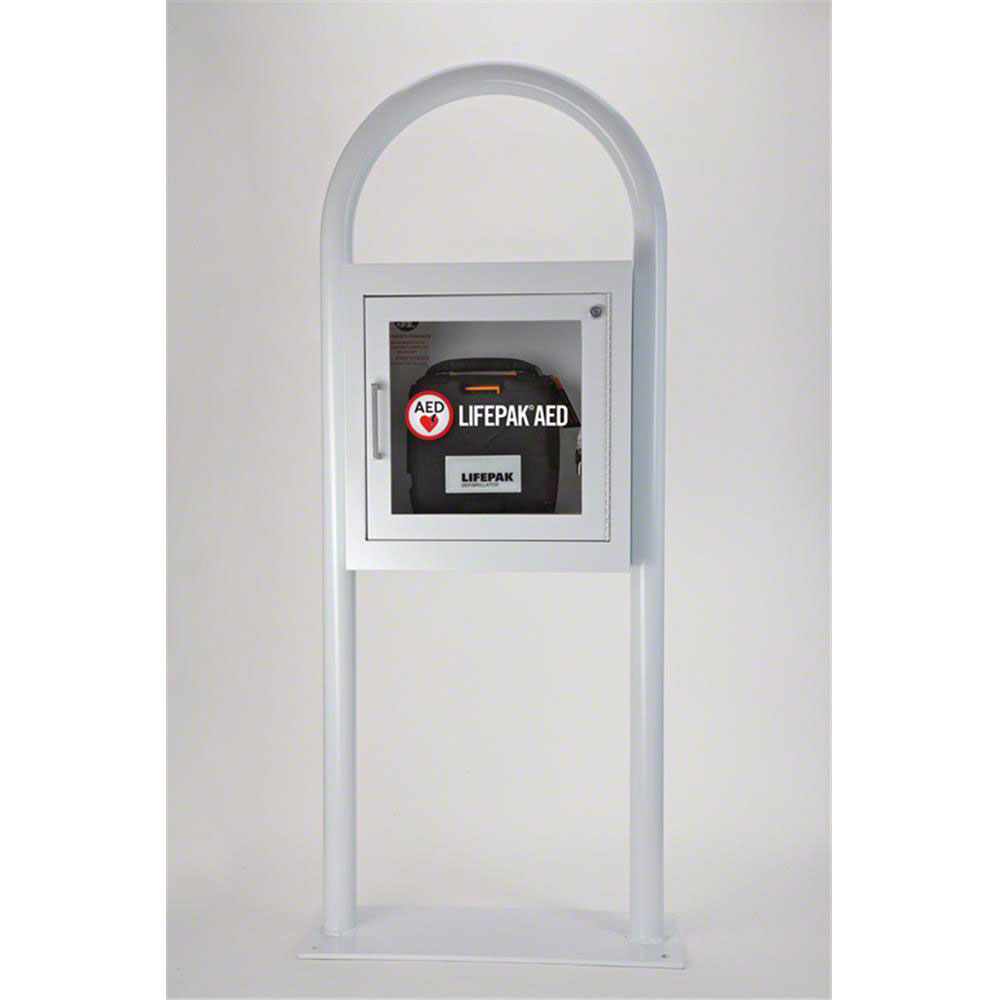 Physio-Control AED Cabinet White Epoxy Floor Stand with Audible Alarm