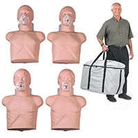 Simulaids Economy Adult Sani-Manikin 4 pk w/Carry Bag