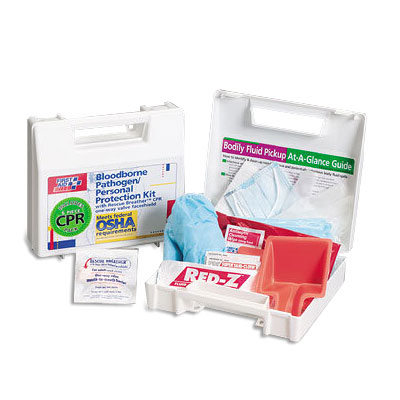 FAO 30 Piece Bloodborne Pathogen/Personal Protection Kit w/6-Piece CPR Pack, Plastic Case