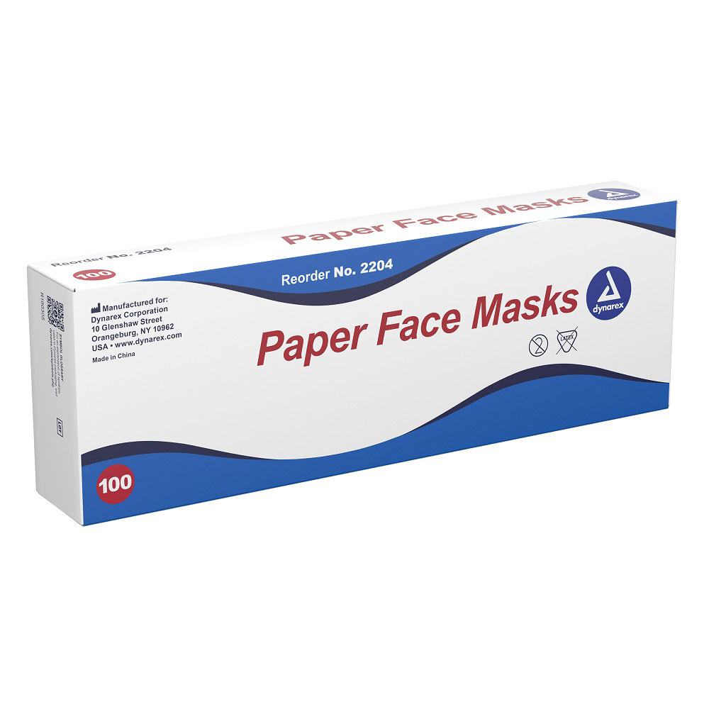 White Paper Face Masks - 100/Box