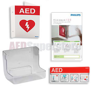 Philips AED Awareness Sign and Wall Mount Bundle - Red