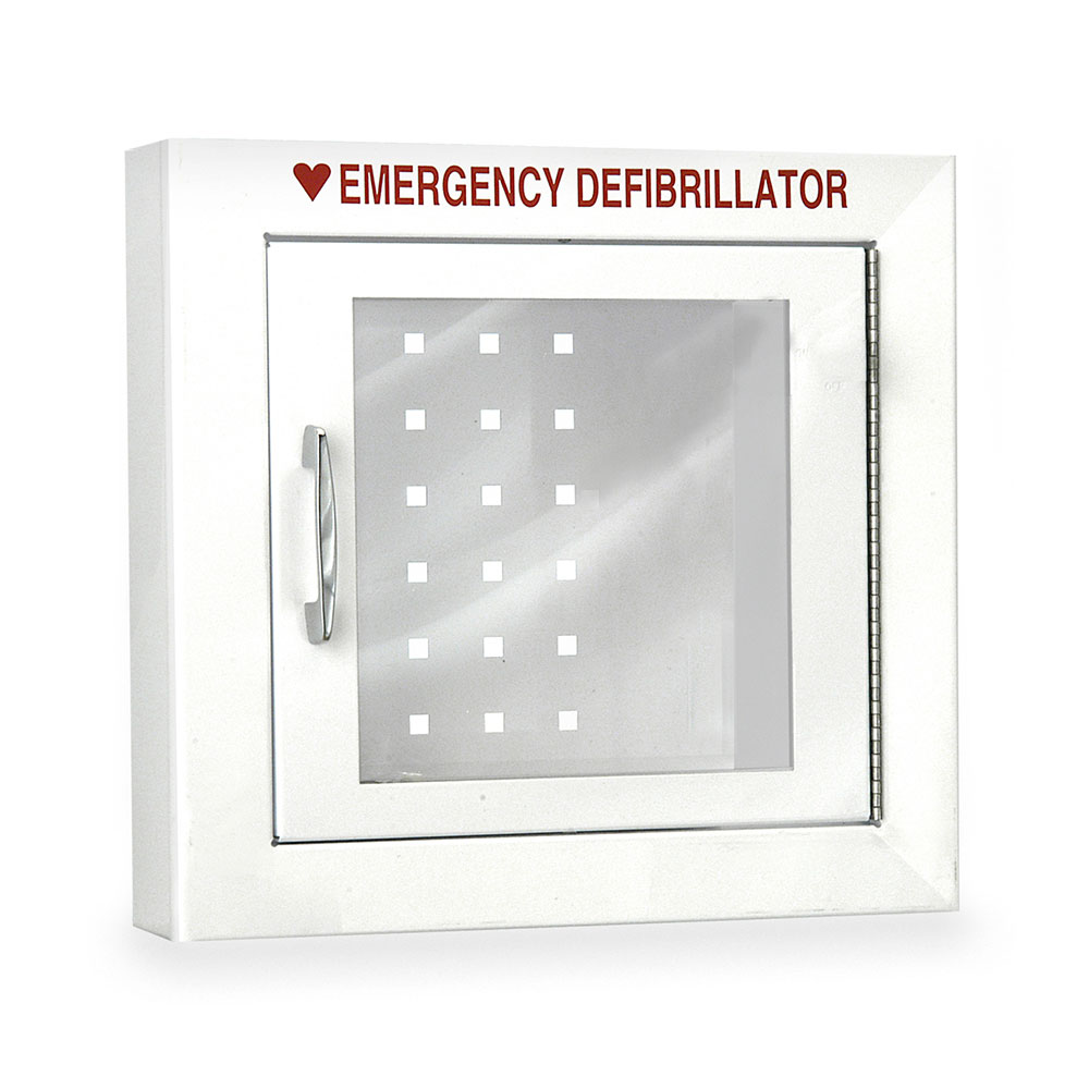 Compact Size AED Wall Cabinet with Advanced Alarm Options - Semi-Recessed Mount