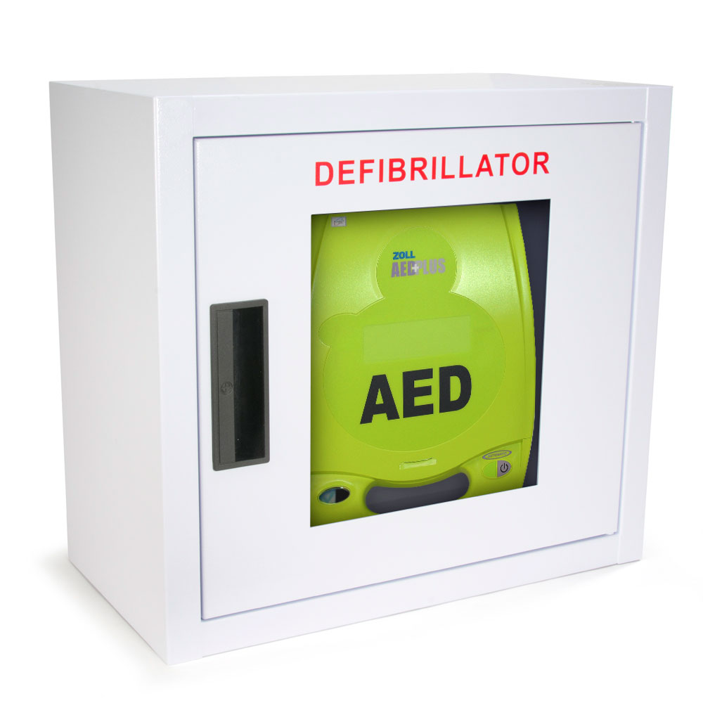 Standard Size AED Wall Cabinet for ZOLL AED Plus - Square Corners