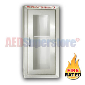 Fire Rated Tall Size Stainless Steel AED Cabinet