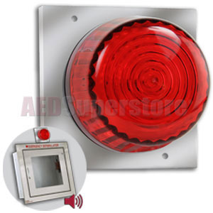 Strobe light with mounting plate for recessed aed cabinets for Cabinet mounting plate