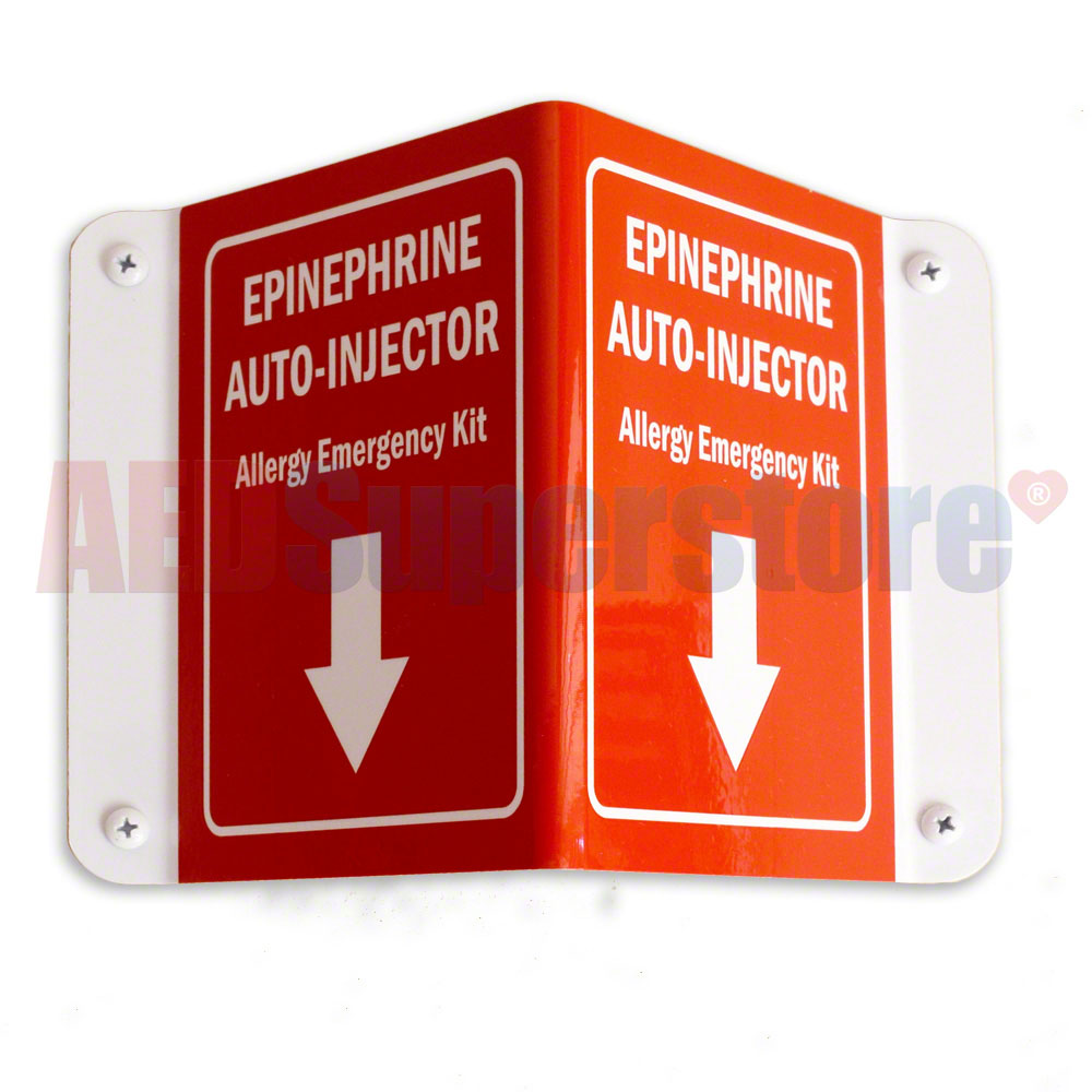Allergy Emergency Kit™ 3D Epinephrine Auto-Injector Wall Sign w/Arrow