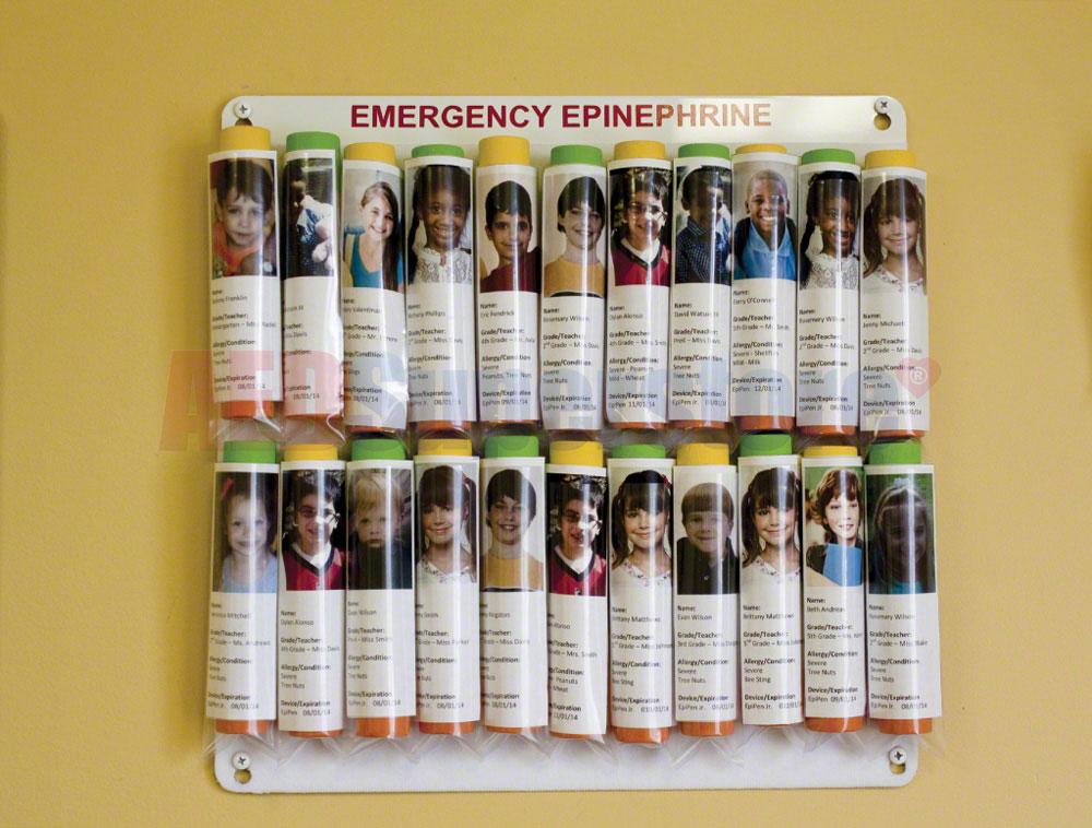 Allergy Emergency Kit™ Epinephrine Auto-Injector Storage Panel & Evacuation Bag for Nurse's Office