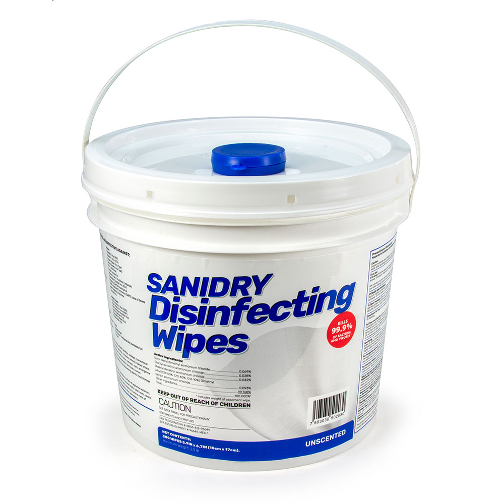 SANIDRY Disinfecting Wipes - 300 Count Tub (Alcohol-Free)