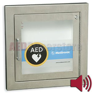 Physio-Control AED Cabinet STAINLESS Semi-Recessed with Audible Alarm