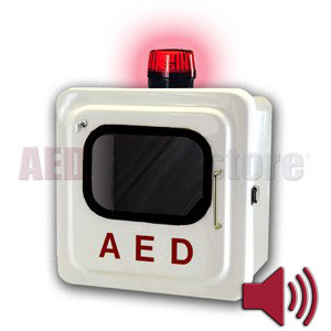 Outdoor White AED Cabinet  with Audible Alarm and Strobe Light