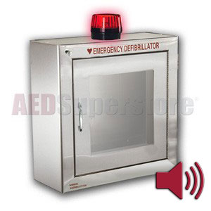 Standard Size Stainless Steel AED Cabinet with Audible Alarm and Strobe Light