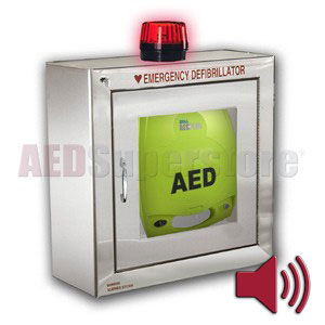 ZOLL® AED Plus® Standard Size Stainless Steel Cabinet with Audible Alarm and Strobe Light