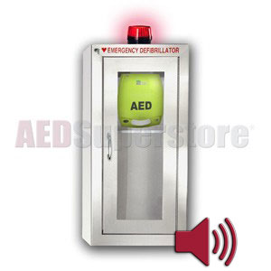 ZOLL® AED Plus® Tall Stainless Steel Cabinet with Audible Alarm and Strobe Light
