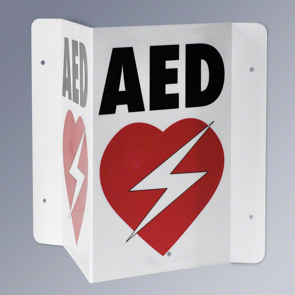 RespondER® Flexible AED Wall Sign for Resale - Black & Red on White