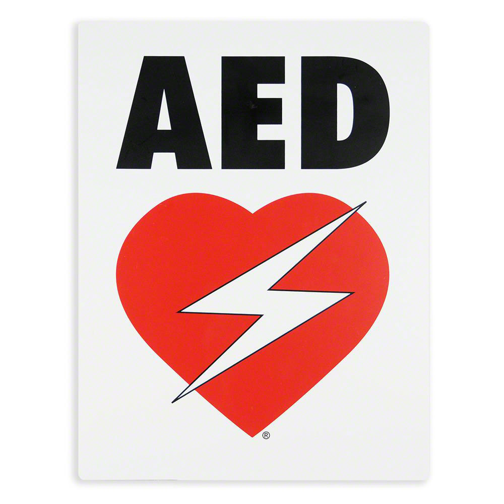AED Flat Wall Sign for Resale - Black & Red on White