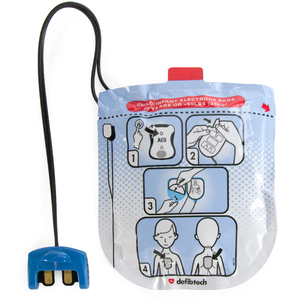 Pediatric Electrodes for Defibtech Lifeline VIEW/ECG/PRO AED