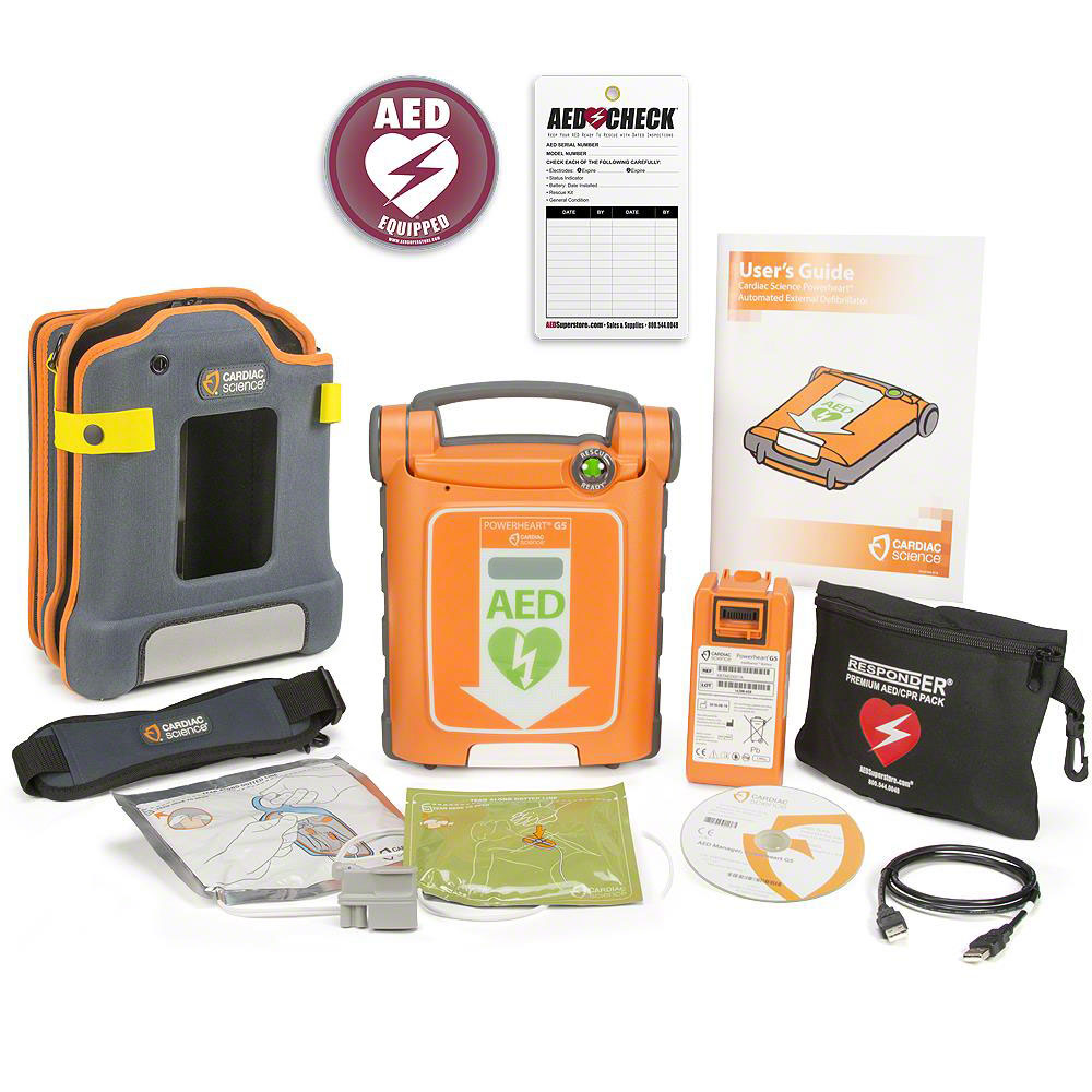 Cardiac Science Powerheart G5 AED w/Included Items w/iCPR Adult Electrodes