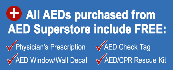 All AEDs include prescription, check tag & decal, and rescue pack