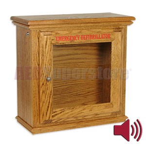 Hand-Crafted Wood Standard Size AED Wall Cabinet w/Alarm