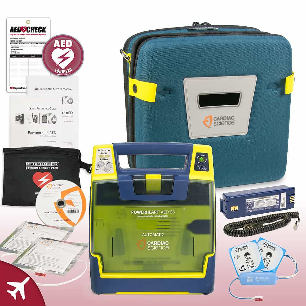 Cardiac Science Powerheart AED G3 Plus Aviation Value Package Fully Automatic