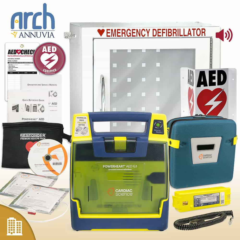 Cardiac Science Powerheart AED G3 Plus Corporate Value Package Alarm Cabinet