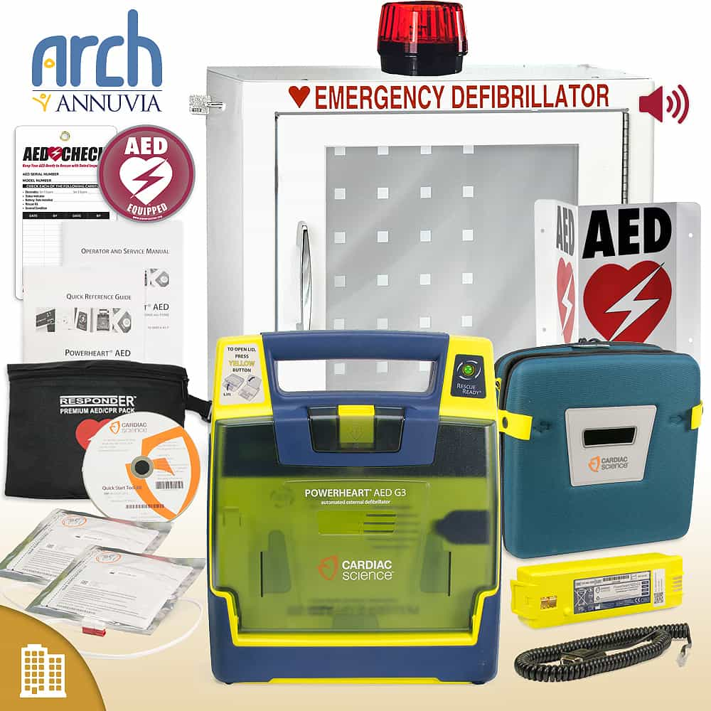 Cardiac Science Powerheart AED G3 Plus Corporate Value Package Strobe and Alarm Cabinet