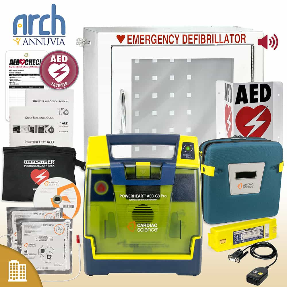 Cardiac Science Powerheart AED G3 Pro Corporate Value Package Alarm Cabinet