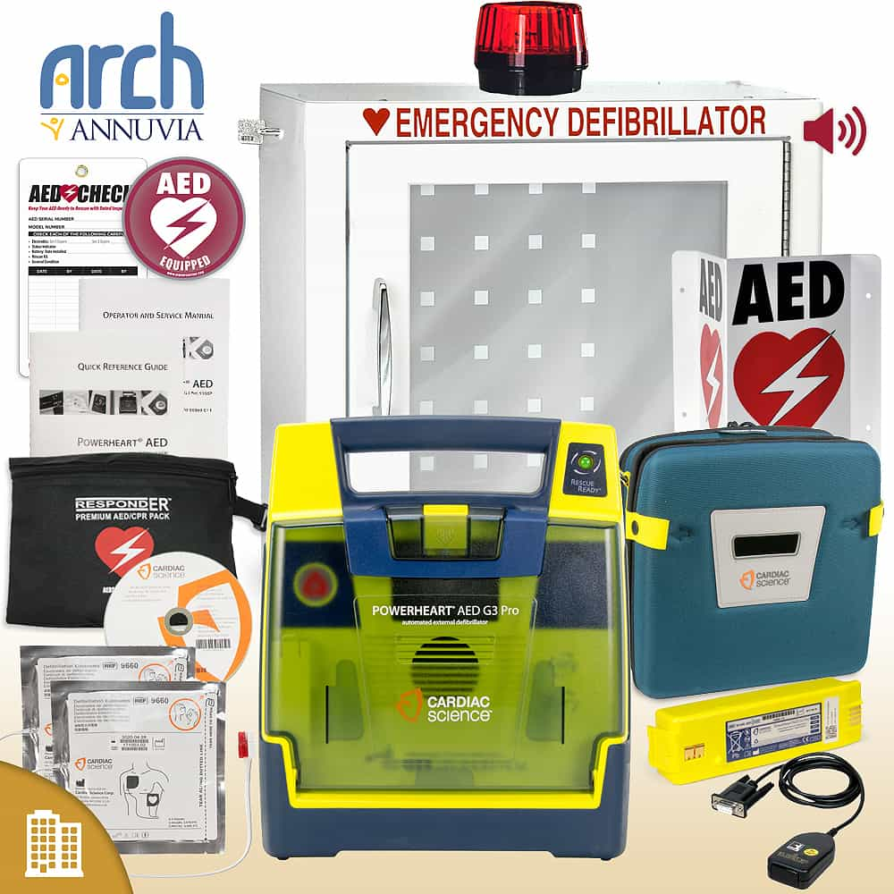 Cardiac Science Powerheart AED G3 Pro Corporate Value Package Strobe and Alarm Cabinet