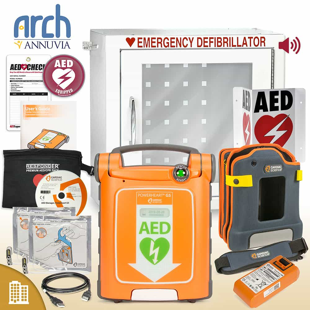 Cardiac Science Powerheart AED G5 Plus Corporate Value Package Alarm Cabinet