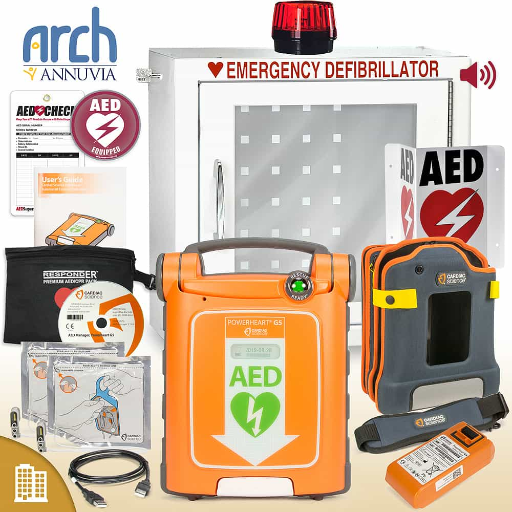 Cardiac Science Powerheart AED G5 Plus Corporate Value Package Strobe and Alarm Cabinet