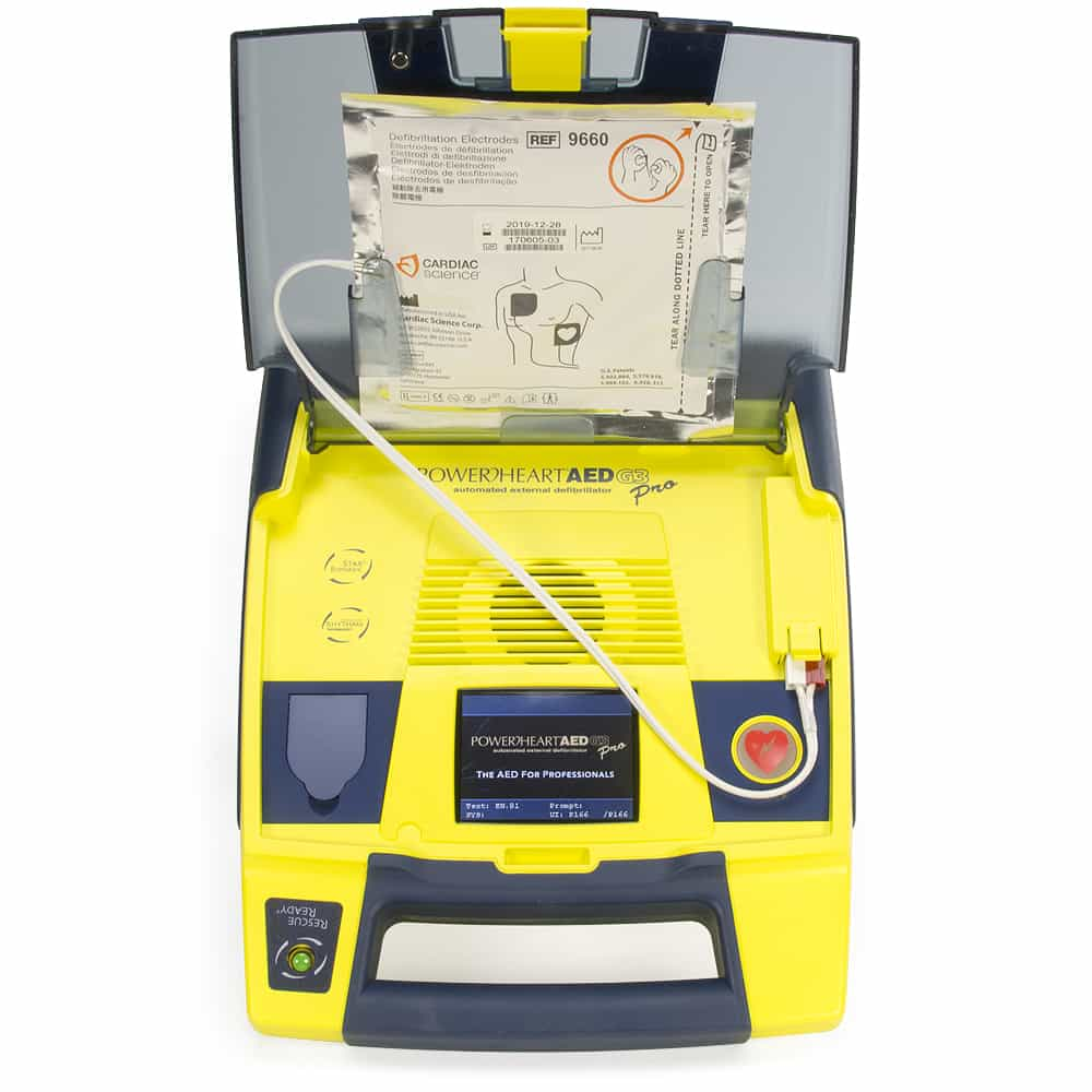 Cardiac Science Powerheart® AED G3 Pro w/Lid Open Face On view