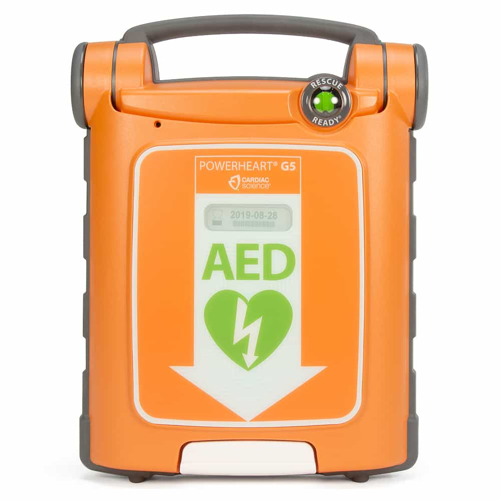 Cardiac Science Powerheart G5 AED Front View w/Lid Closed