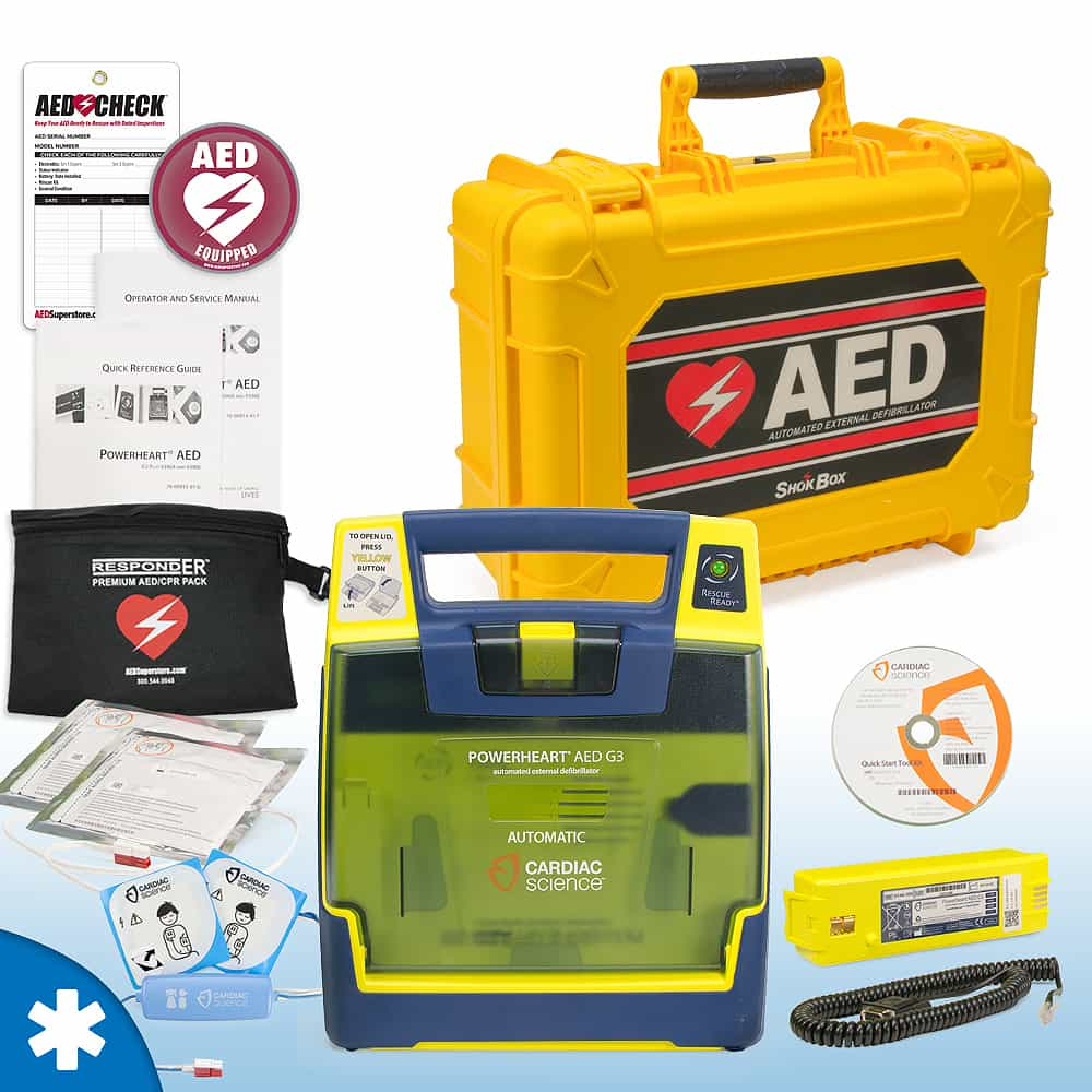 Cardiac Science Powerheart AED G3 Plus Mobile Responder Value Package Fully Automatic