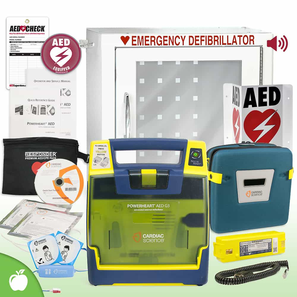 Cardiac Science Powerheart G3 AED School & Community Value Package Alarm Cabinet