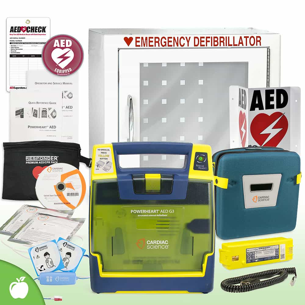 Cardiac Science Powerheart G3 AED School & Community Value Package Basic Cabinet
