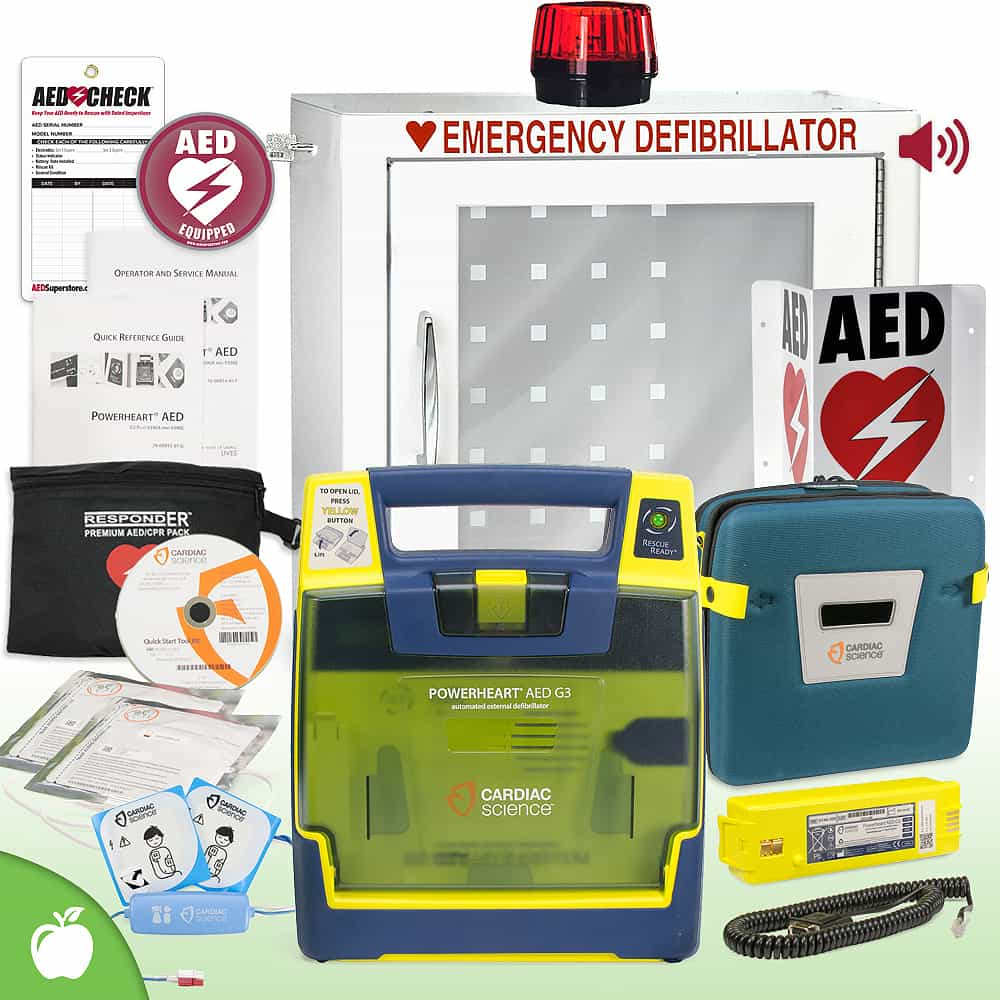 Cardiac Science Powerheart G3 AED School & Community Value Package Strobe and Alarm Cabinet