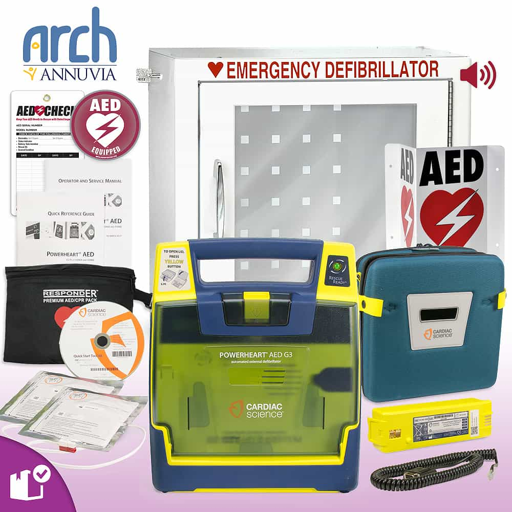 Cardiac Science Powerheart AED G3 Plus Complete Value Package Alarm Cabinet