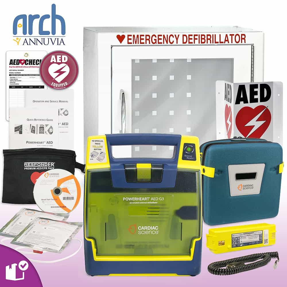 Cardiac Science Powerheart AED G3 Plus Complete Value Package Basic Cabinet
