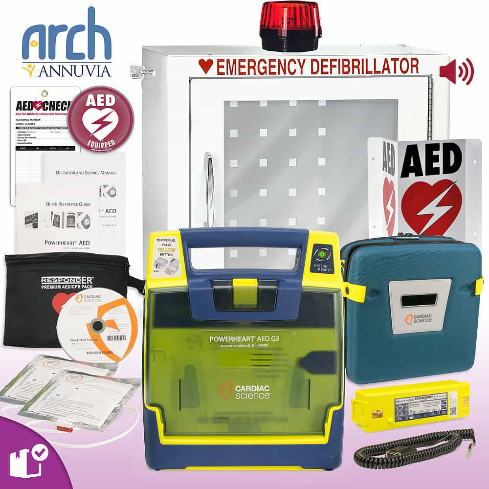 Cardiac Science Powerheart AED G3 Plus Complete Value Package Strobe and Alarm Cabinet