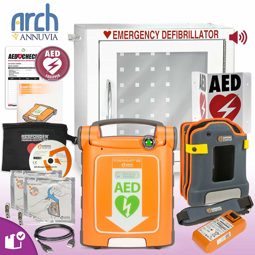 Cardiac Science Powerheart AED G5 Plus Complete Value Package Alarm Cabinet