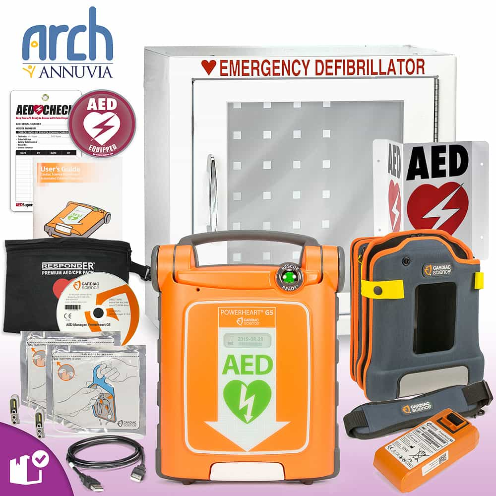 Cardiac Science Powerheart AED G5 Plus Complete Value Package Basic Cabinet