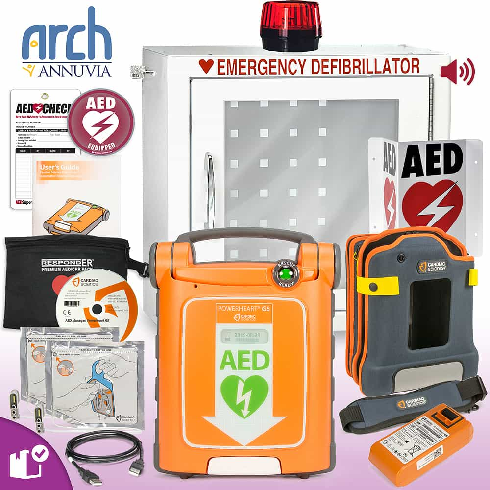 Cardiac Science Powerheart AED G5 Plus Complete Value Package Strobe and Alarm Cabinet