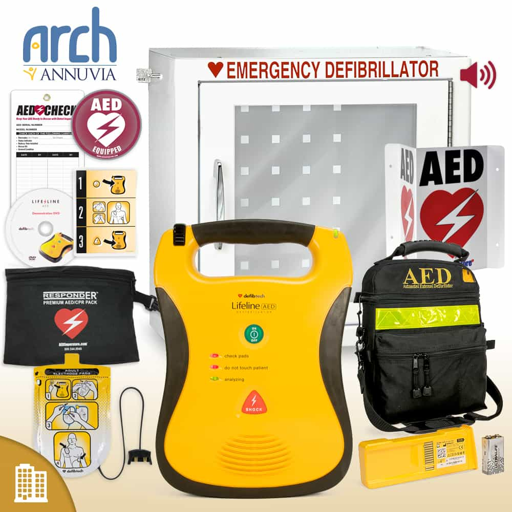 Defibtech Lifeline AED Corporate Value Package Alarm Cabinet