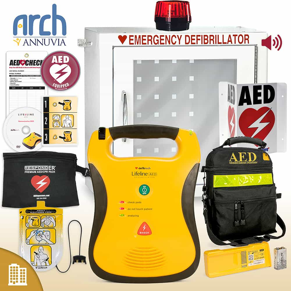 Defibtech Lifeline AED Corporate Value Package Strobe and Alarm Cabinet