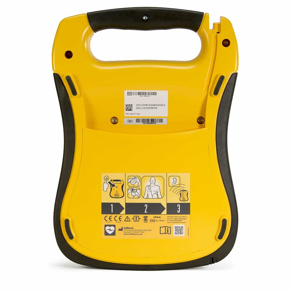 Defibtech Lifeline Back View and Serial Number Location