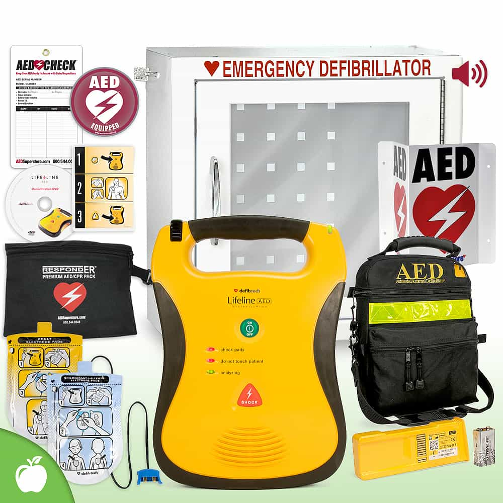 Defibtech Lifeline AED School & Community Value Package Alarm Cabinet