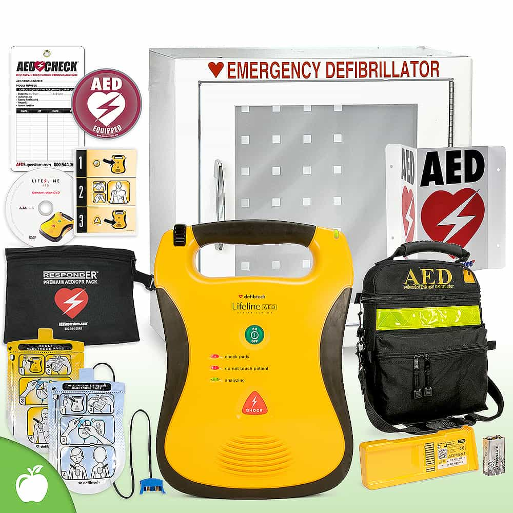 Defibtech Lifeline AED School & Community Value Package Basic Cabinet