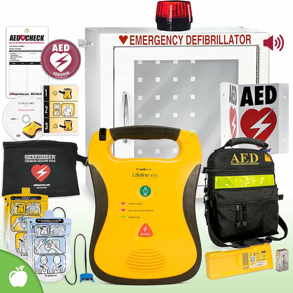 Defibtech Lifeline AED School & Community Value Package Strobe and Alarm Cabinet