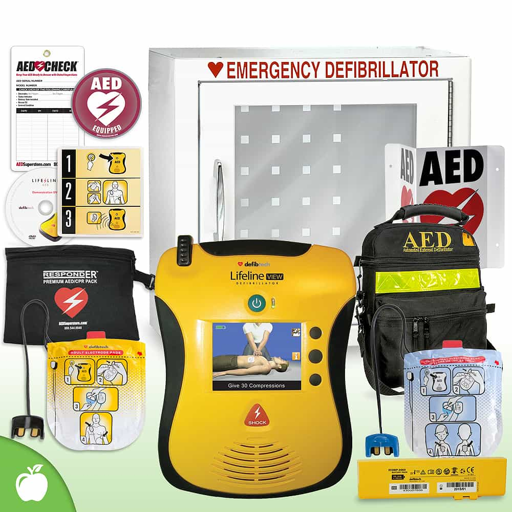 Defibtech Lifeline VIEW/ECG AED School & Community Value Package Basic Cabinet