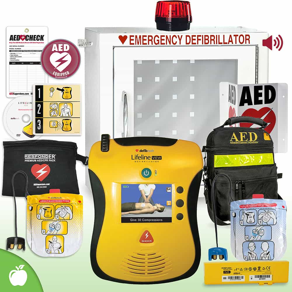 Defibtech Lifeline VIEW/ECG AED School & Community Value Package Strobe and Alarm Cabinet